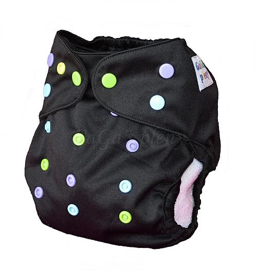 b65f7fd2403 Svrchní kalhotky Duhovka černá na patentky